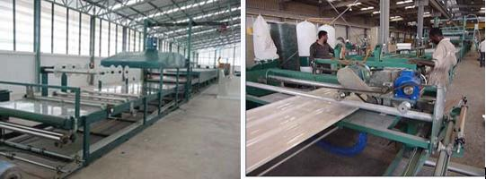 Glass fiber corrugated tile machine_cutting off